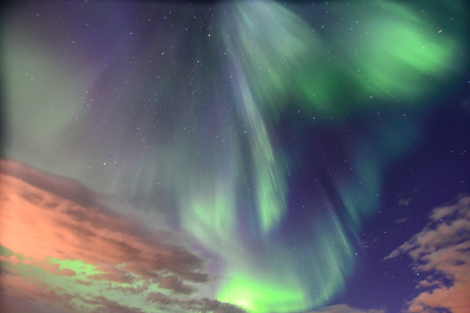 purple and green northern lights in the sky in iceland