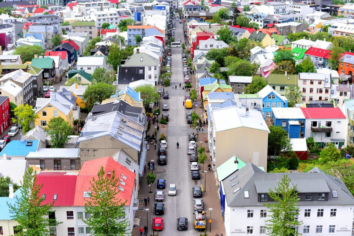 Colorful houses in downtown Reykjavik
