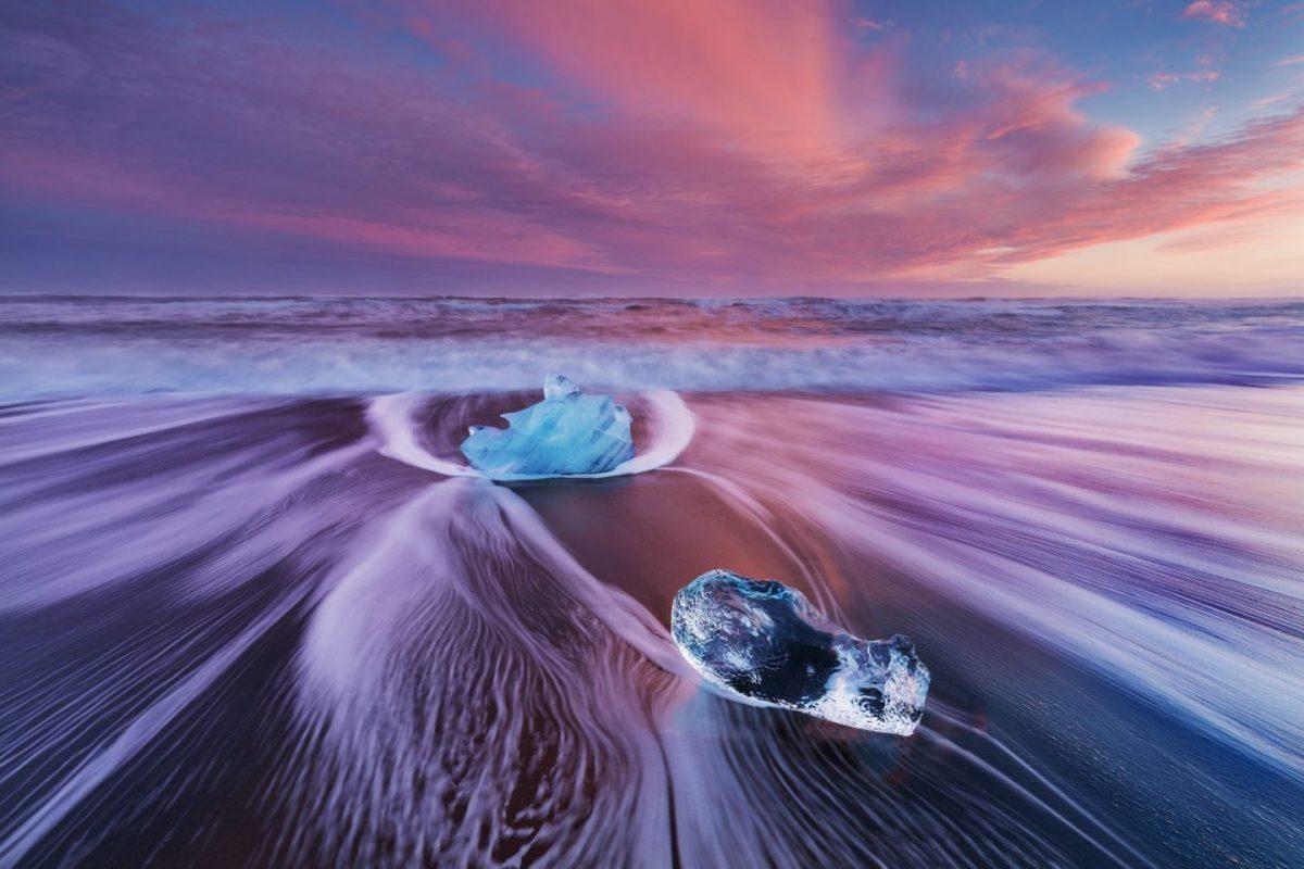 crystal blue ice on the diamond beach in iceland