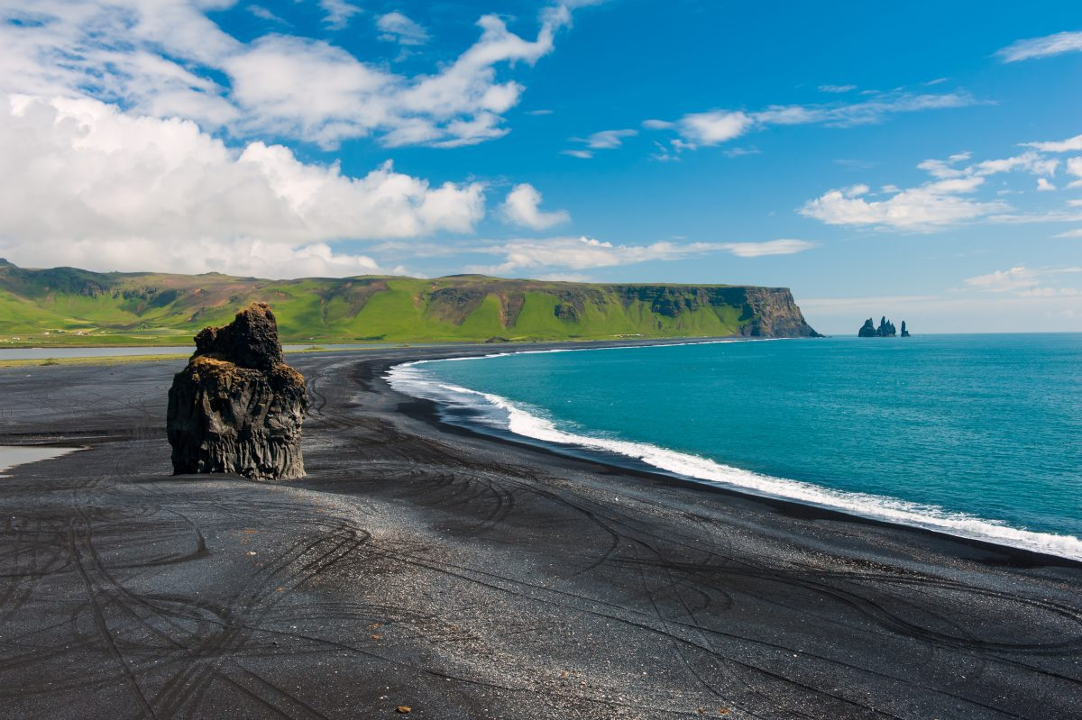 Dyrhólaey black sand beach in south iceland