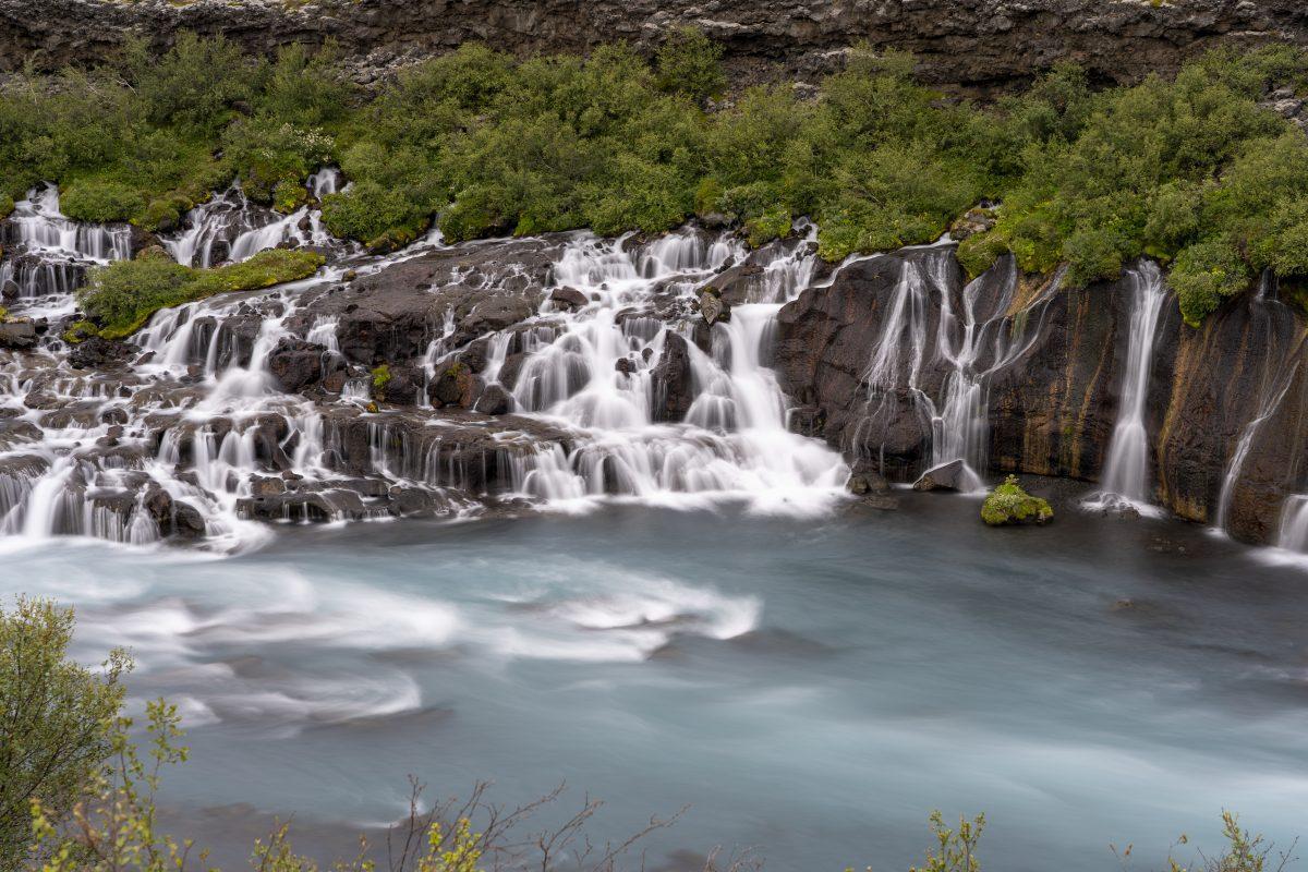 hraunfossar waterfall in west iceland