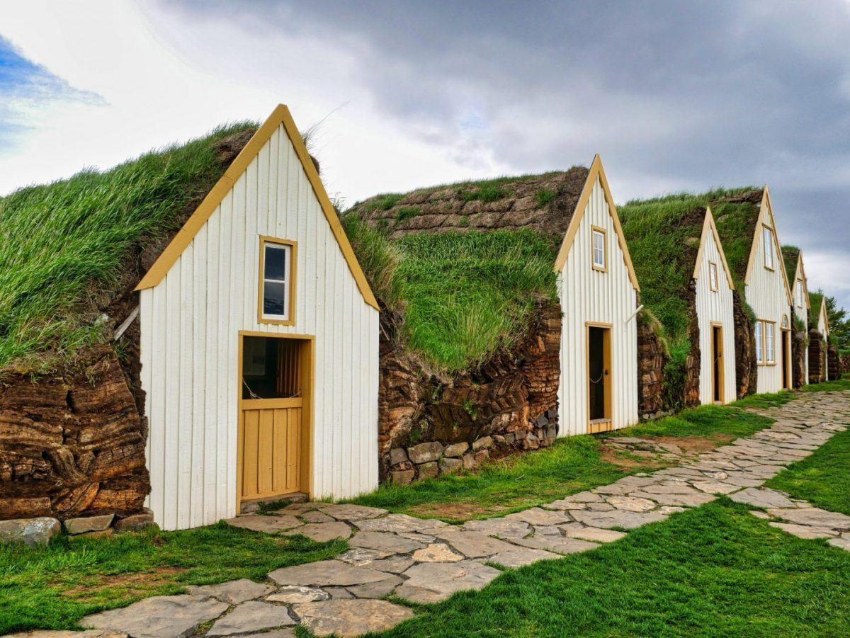 cute traditional icelandic turf houses