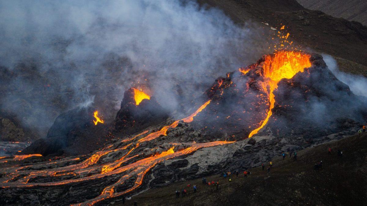 Fagradalsfjall volcano eruption and lava flow