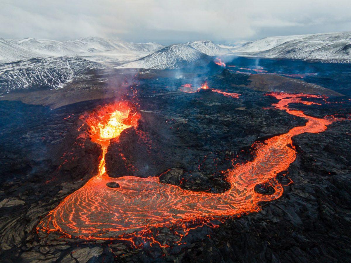 bird view of Fagradalsfjall volcano iceland