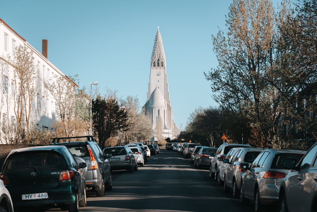 street view of hallgrimskirkja from the back