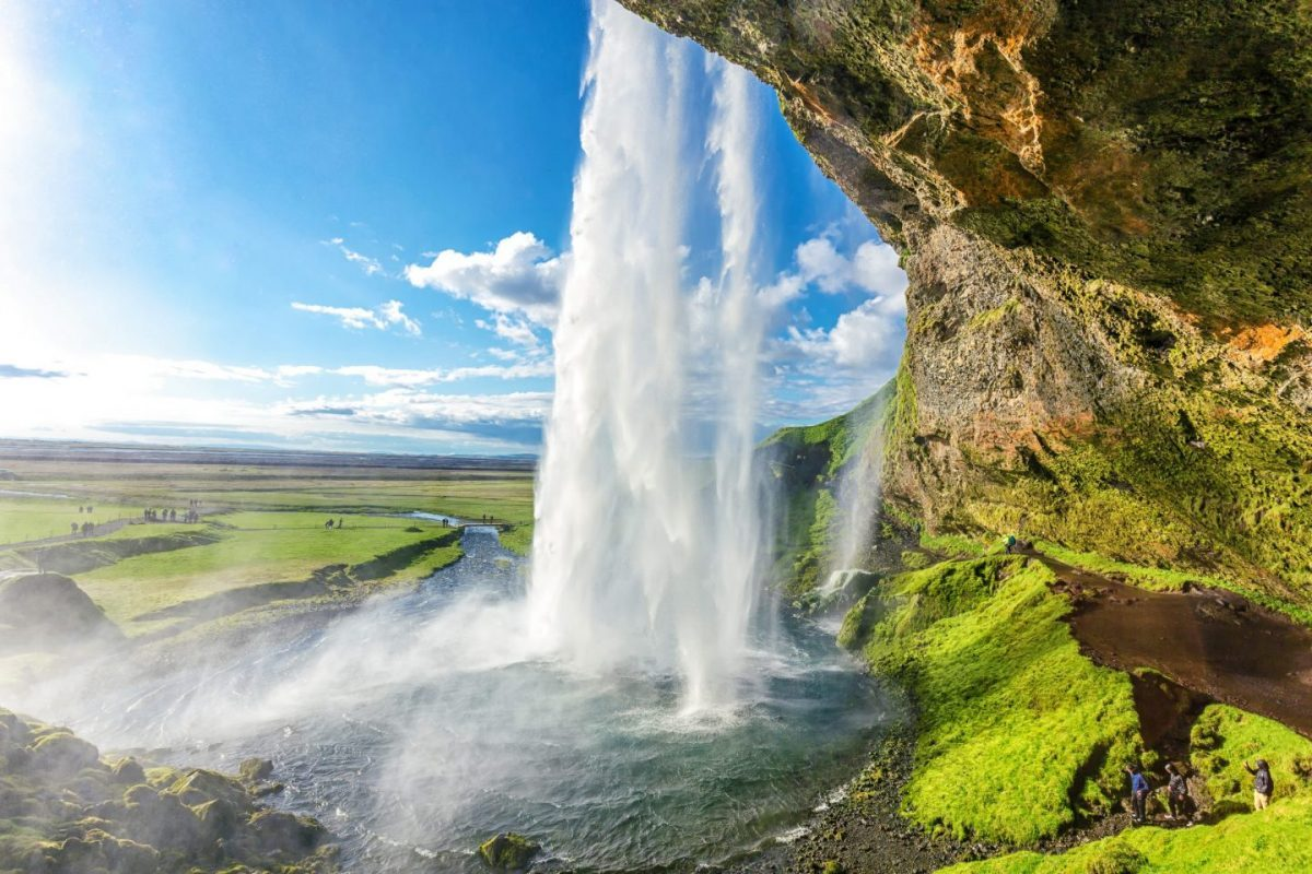 seljalandsfoss waterfall view from behind