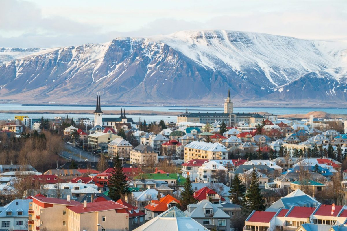reykjavik with esjan mountain on the backdrop