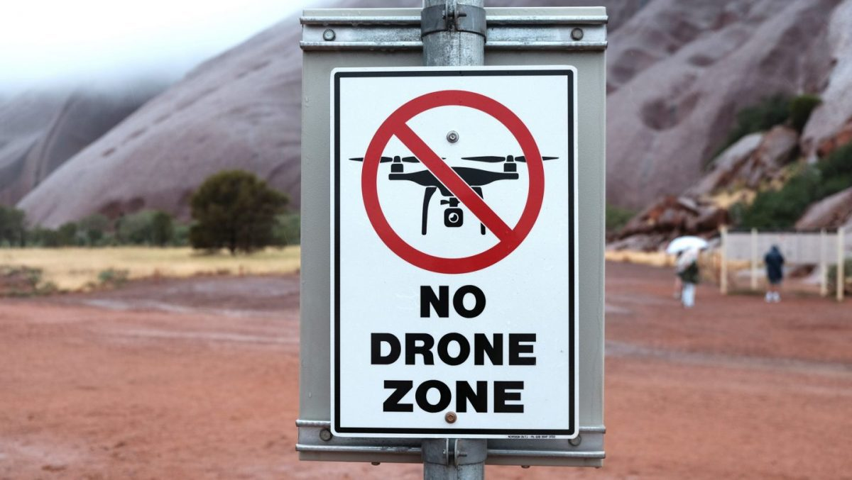 a no drone zone sign in iceland