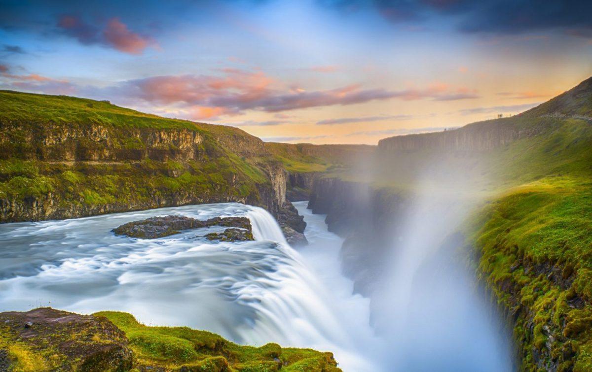 powerful gullfoss waterfall in the golden circle in summer