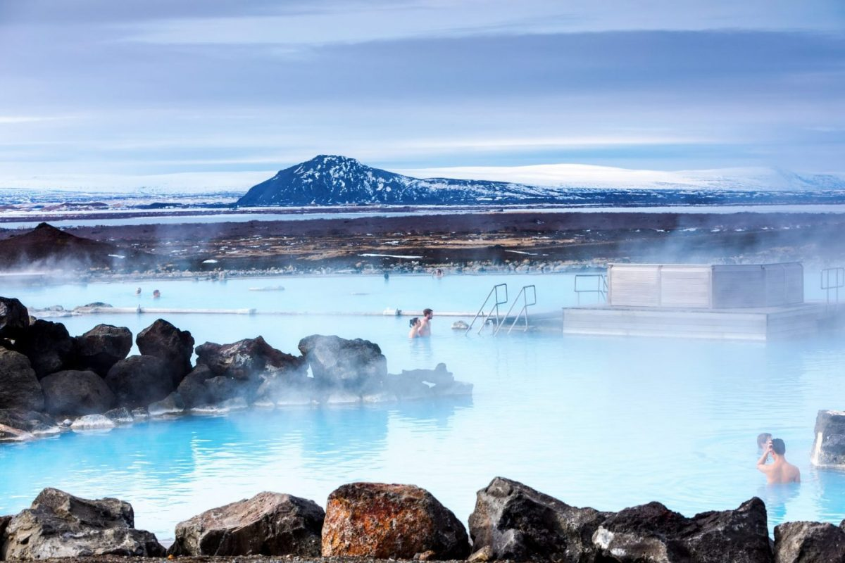 milky blue water in blue lagoon iceland