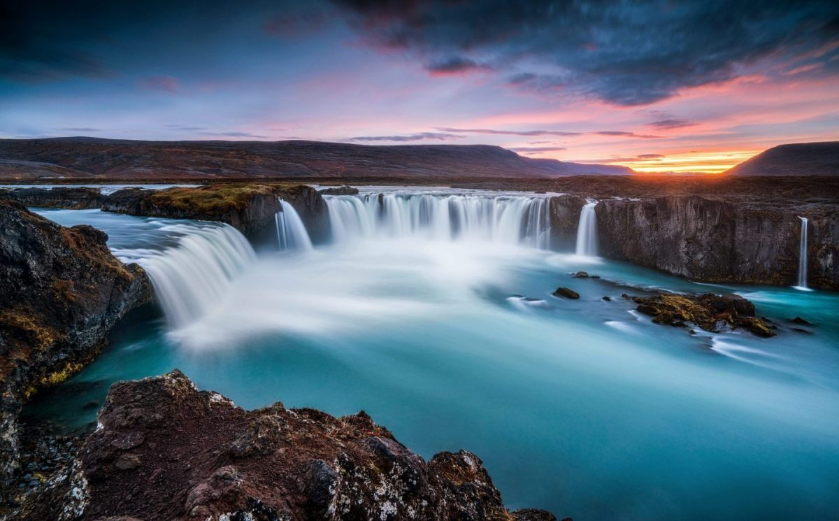 blue water in godafoss north iceland