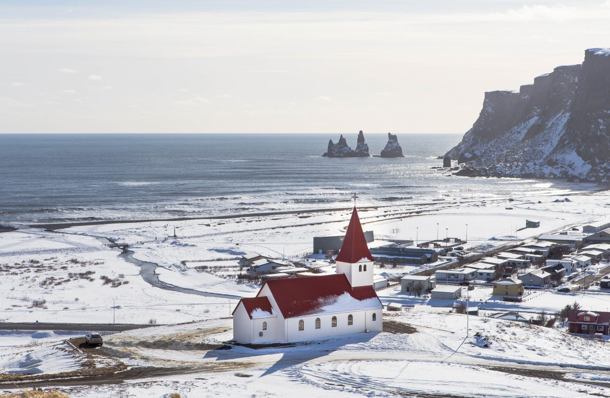vik the southernmost village of iceland in winter