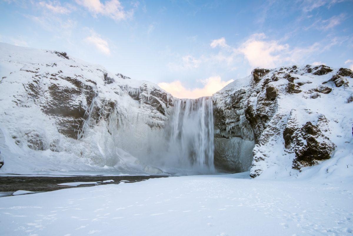 skogafoss waterfall in south iceland in winter