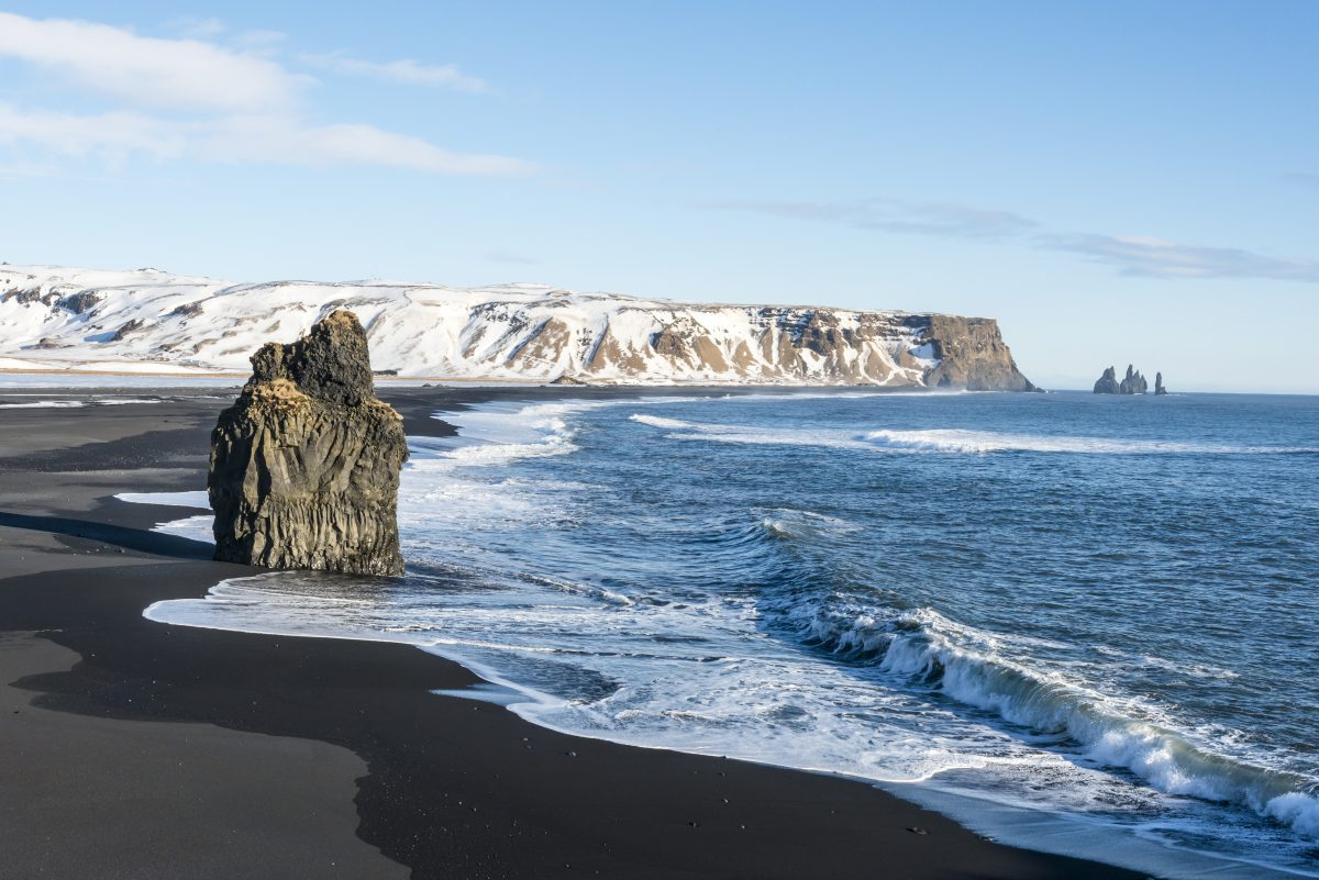 Dyrholaey black sand beach in south iceland