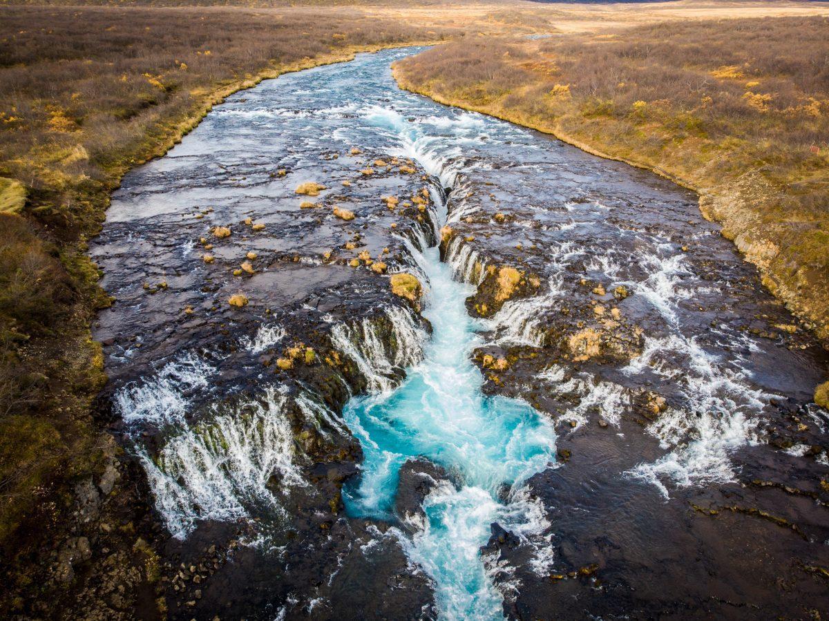 Brúarfoss waterfall from above