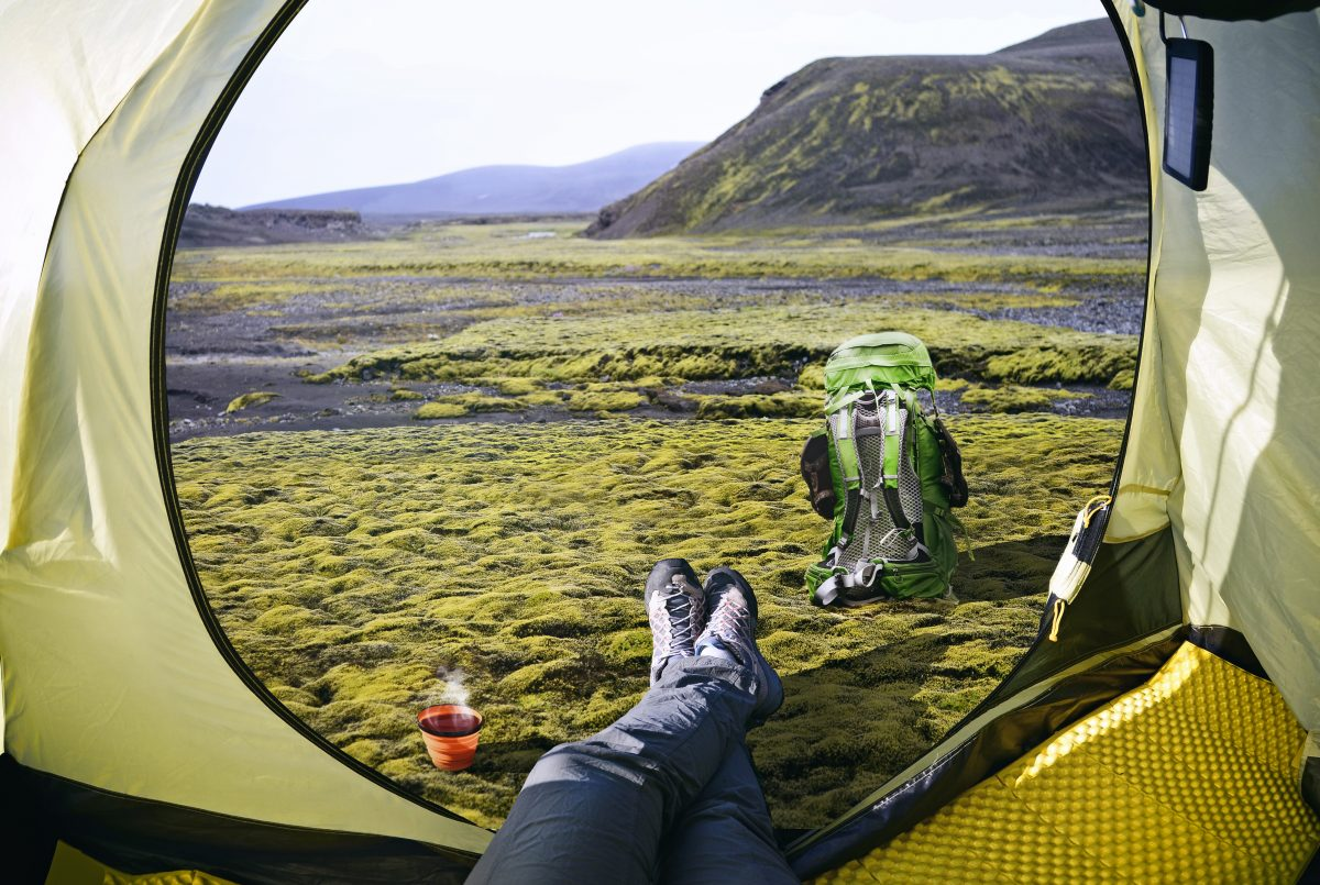Hiker having a rest in Þakgil region