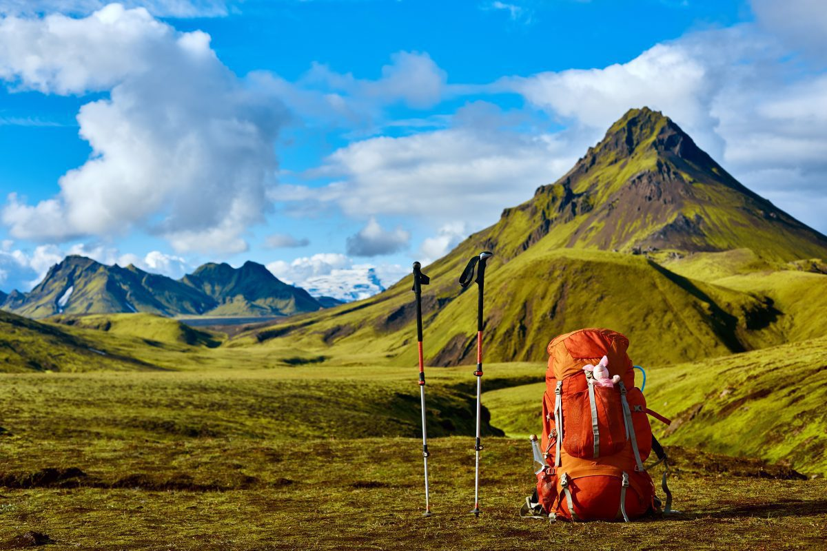 Hiker's view over Iceland's mountainous region.