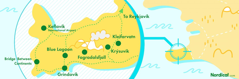 Map of Reykjanes Nordical Travel Iceland