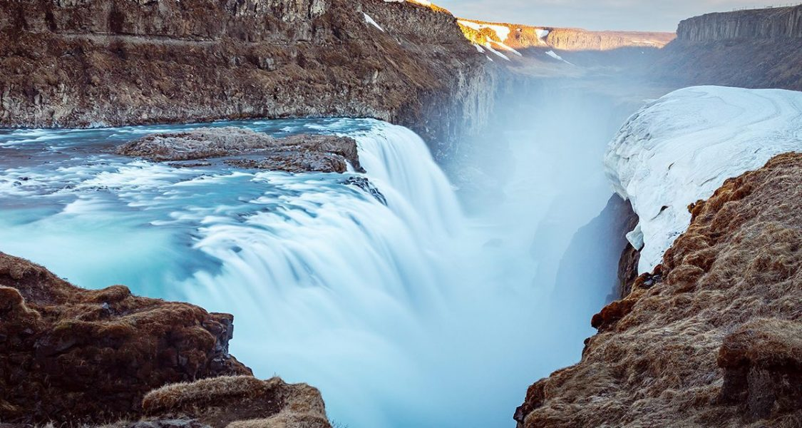 gullfoss waterfall in the golden circle in winter