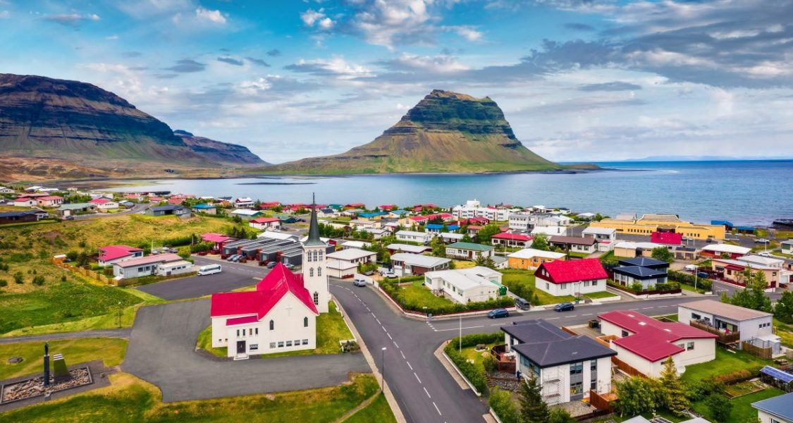 Grundarfjörður overlooking kirkjufell in iceland