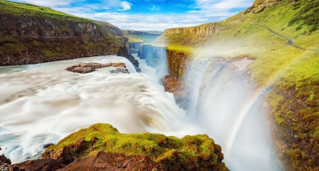 rainbow above gullfoss waterfall in the golden circle iceland