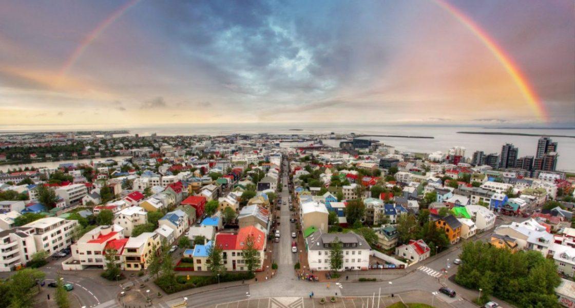 rainbow over the icelandic capital reykjavik