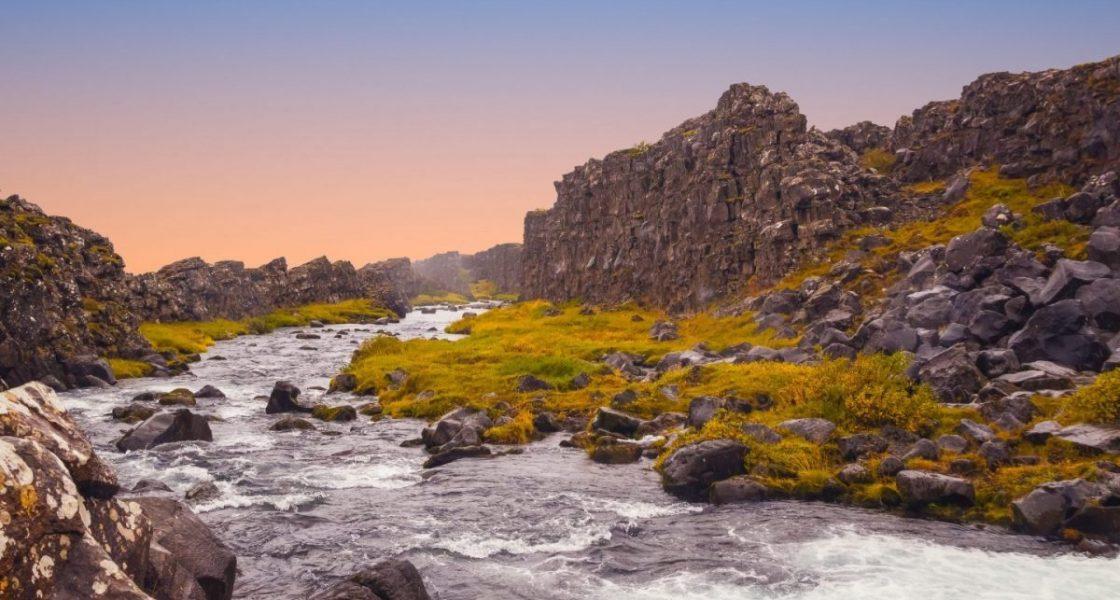 river running in thingvellir National Park iceland