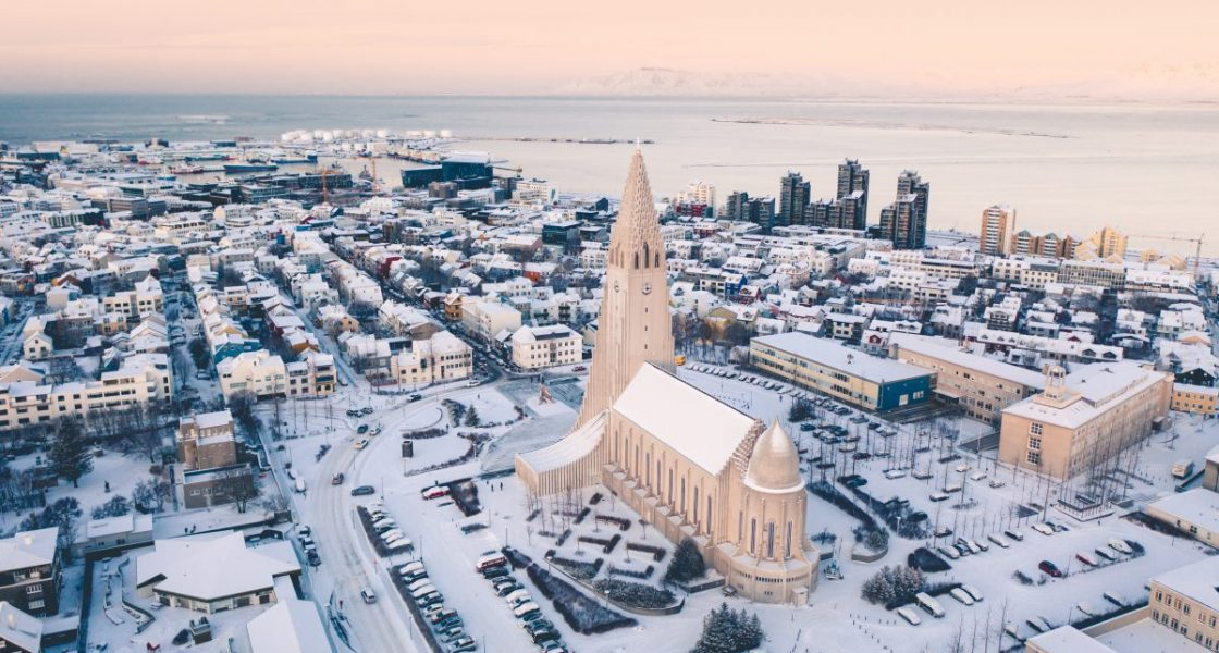 bird view of reykjavik in winter