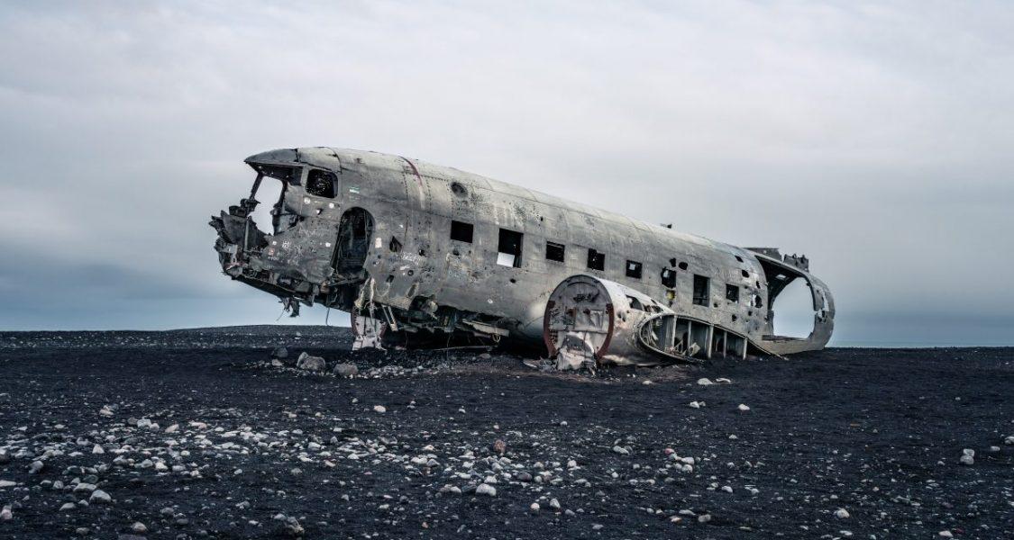 DC3 plane wreck on black sand beach in iceland