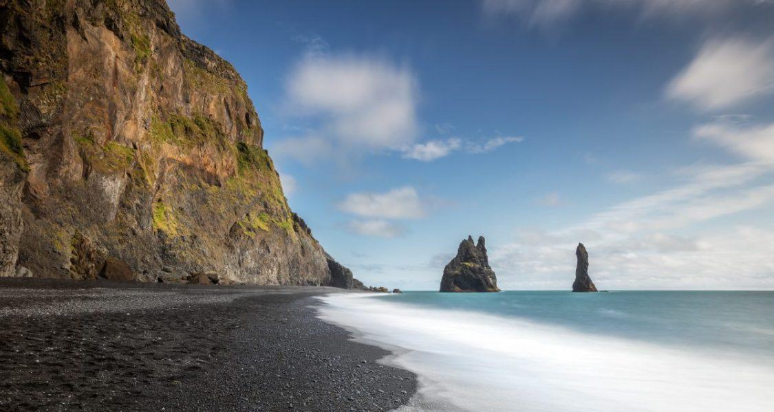 The black sand beach Reynisfjara in summer