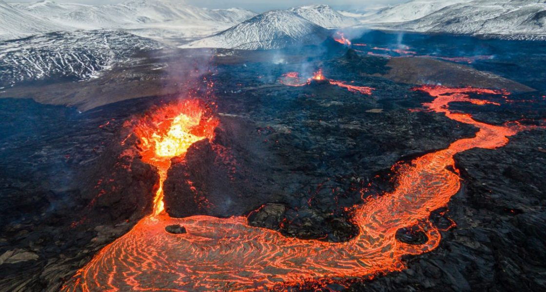 Fagradalsfjall volcano craters blowing hot lava