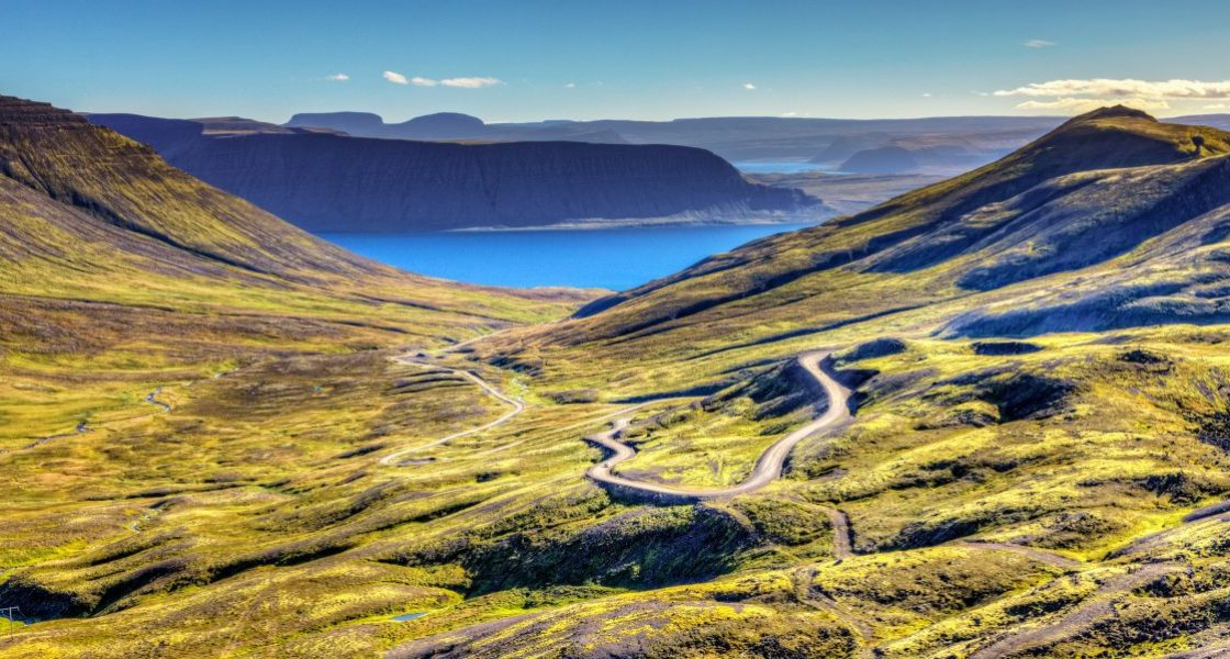 A scenic view over the Westfjords Iceland