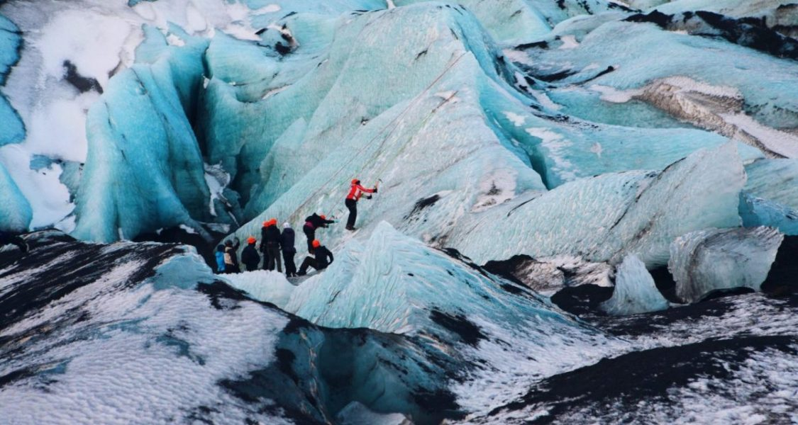 ice climbing on a glacier in iceland