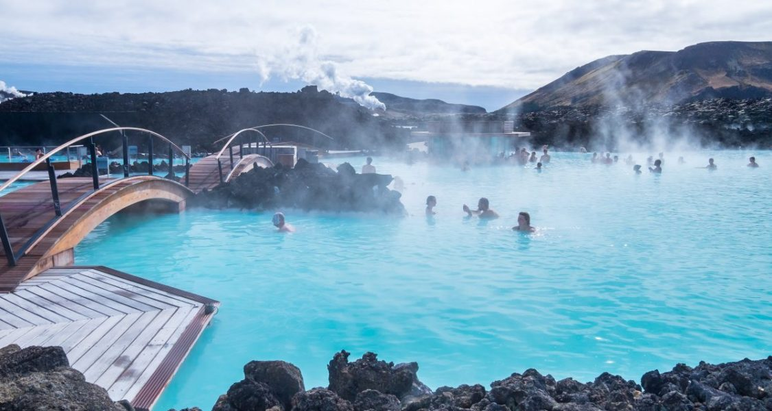 people bathing in blue lagoon iceland