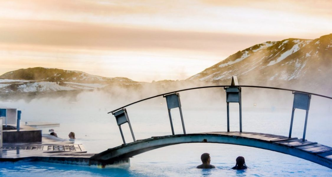blue lagoon iceland in winter