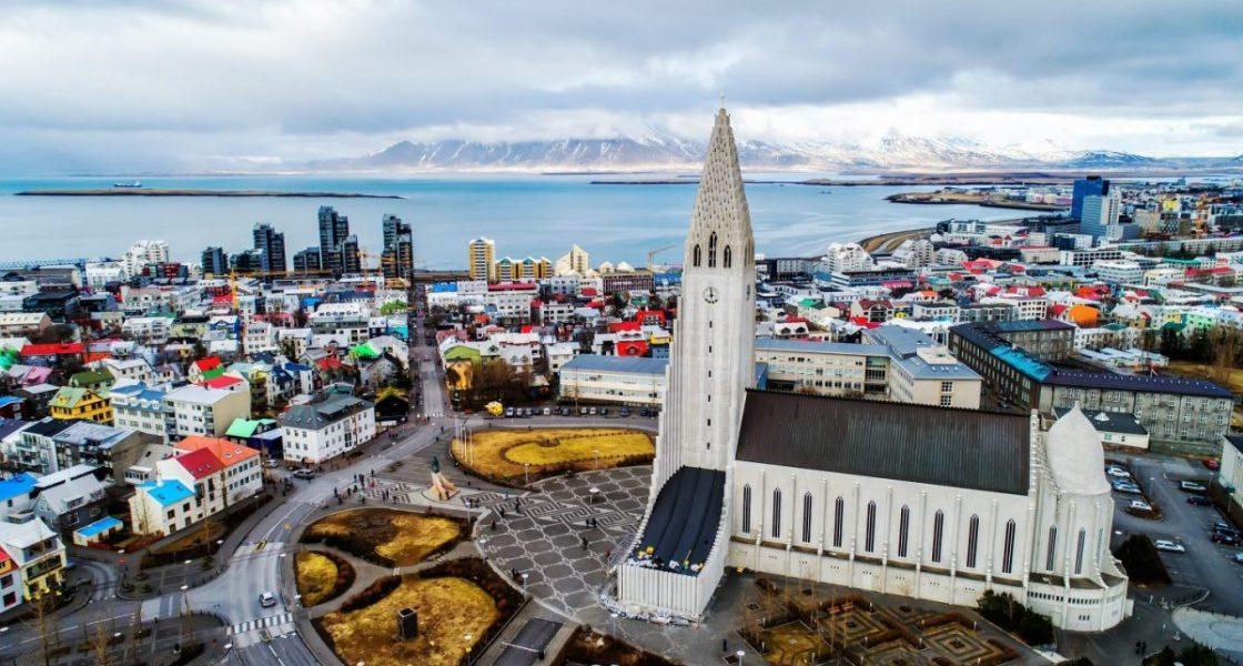 hallgrimskirkja church overlooking reykjavik iceland