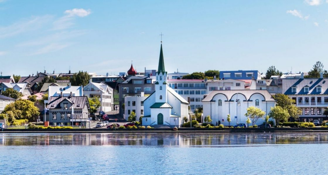 Reykjavik,,Iceland,City,Scape,-,Lake,Quay,In,City,Center.